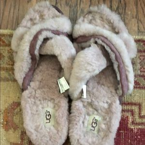 Ugg Abela slide slipper house shoe mauve 9 Euc fur